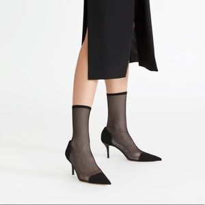 ZARA Heeled Sock-style Mesh Ankle Boots
